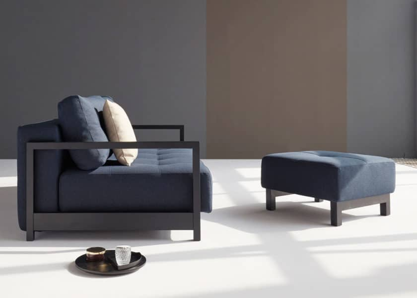 Bifrost sofa bed in blue with Bifrost puff foot stall
