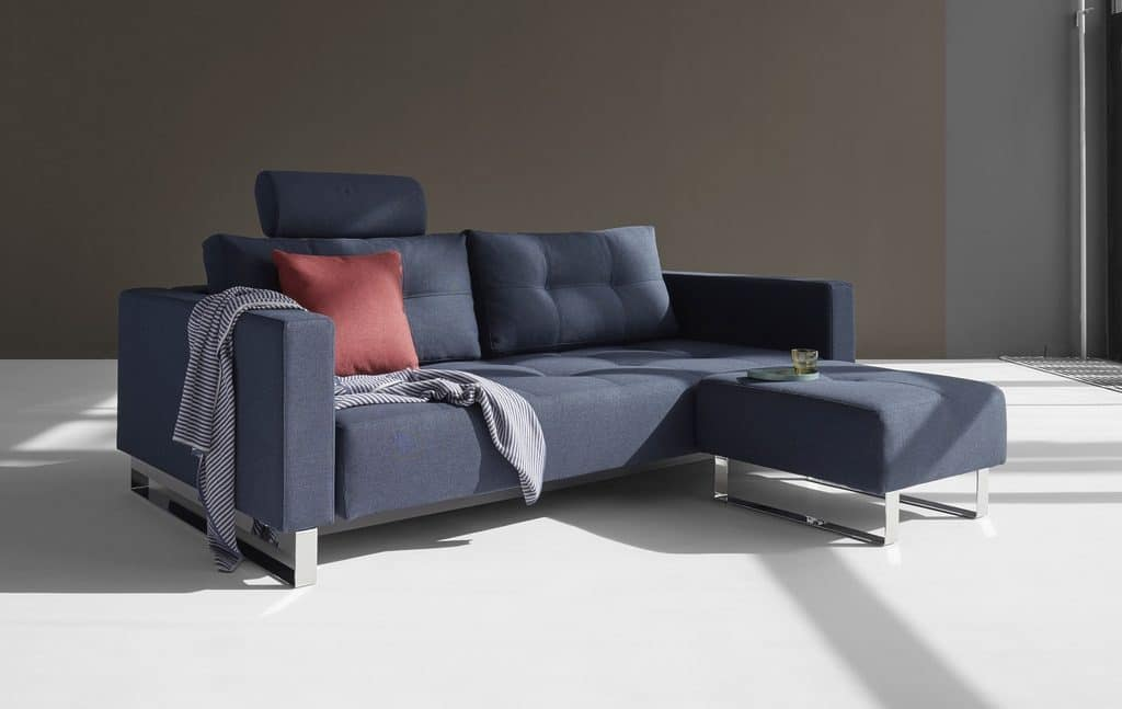 Cassius Deluxe Sofa Bed King Size with Footstool Mixed Dance Blue
