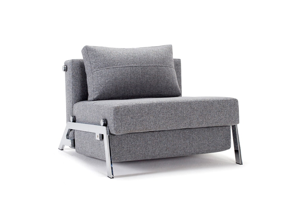 Cubed 90 sofa bed front view with chrome legs