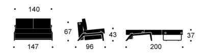 Cubed 140 Sofa Bed Wooden Leg Dimensions