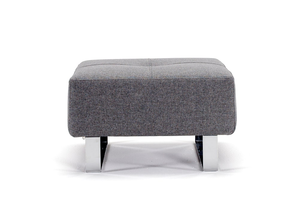 Supremax DEL foot stool in twist charcoal grey with chrome legs