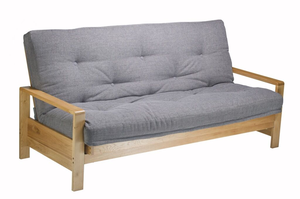 Milan 3 seat Wooden Sofa Bed in the sofa position