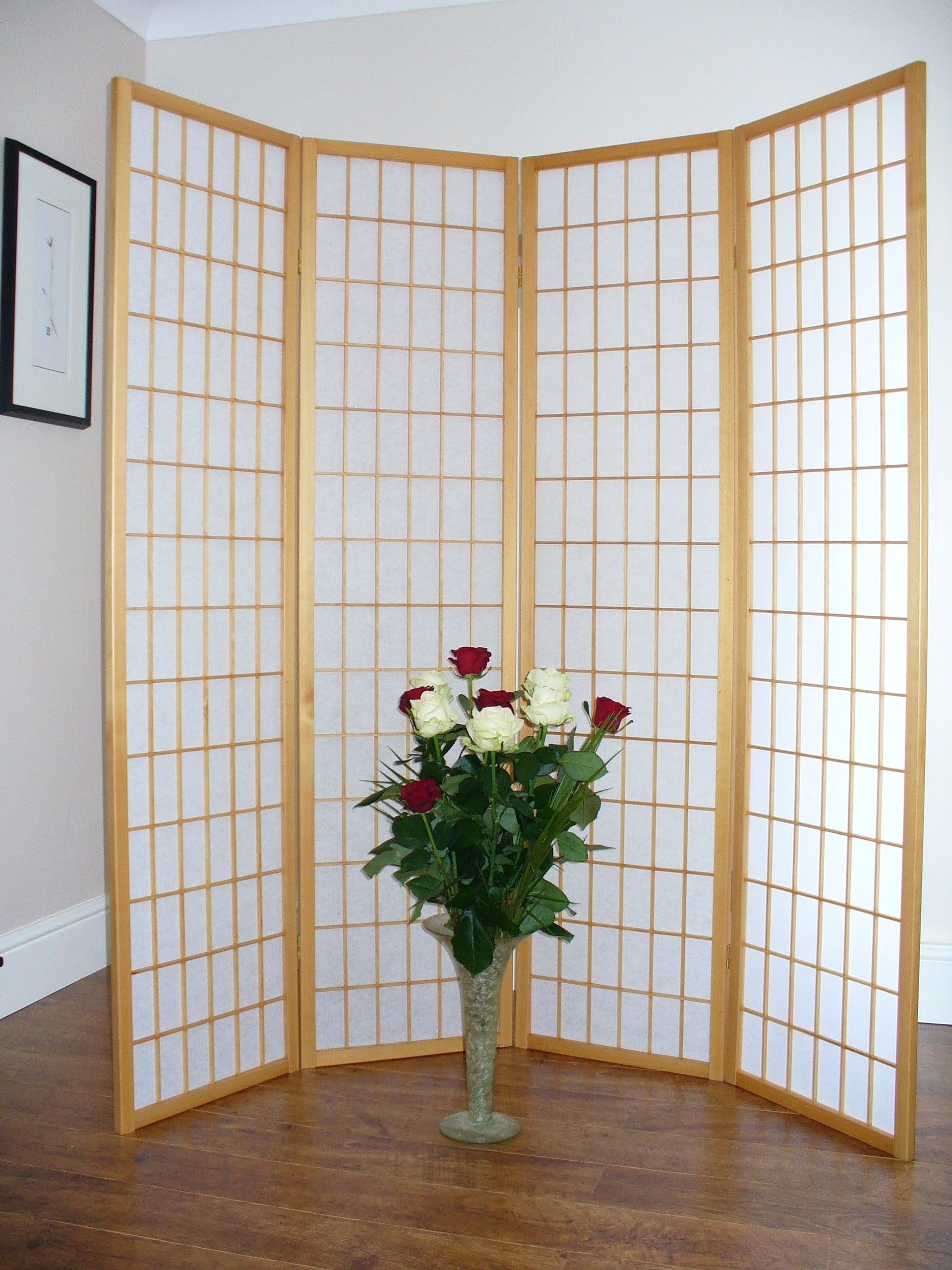 Shoji Natural 4 panel Room Divider