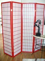 Shoji Red 4 panel Room Divider