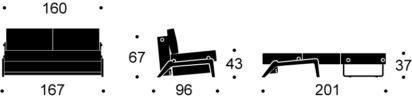 Cubed 160 cm Chrome Legs
